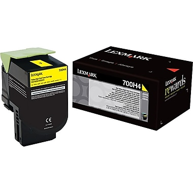 Lexmark 700H4 Yellow Toner Cartridge (70C0H40), High Yield