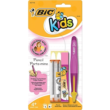 BIC® Kids Mechanical Pencil, Pink Barrel with Yellow Accents, 1.3 mm, Each