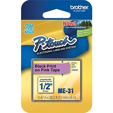 Brother® P-Touch Plastic Tape, 1/2in.(W) x 26.2'(L), Pink