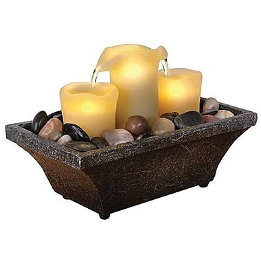 Sarah Peyton Home Fountain 3 Candle LED BO II, Grey/Tan & Blue