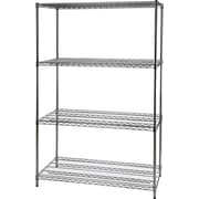 Staples® Wire Shelving, 4 Shelves, 72 x 48 x 24, Chrome