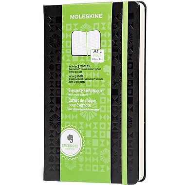 Moleskine Evernote Large Hard Cover Sketchbook with Smart Stickers, Black, 5in. x 8 1/4in.