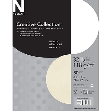 Neenah Creative Collection™ – Papier métallique Premium, 32 lb, 8 1/2 po x 11 po, champagne perlé, paq./50 feuilles
