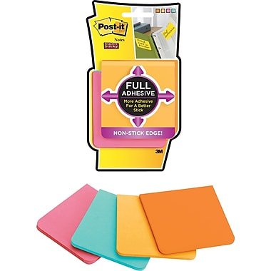 Post-it® Super Sticky Full Adhesive 3in. x 3in. Farmers Market Notes, 4 Pads/Pack