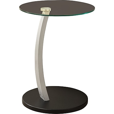 Monarch Bentwood Accent Table With Tempered Glass, Black / Silver