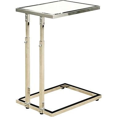 Monarch - Table d'appoint à hauteur ajustable / verre trempé, métal chromé