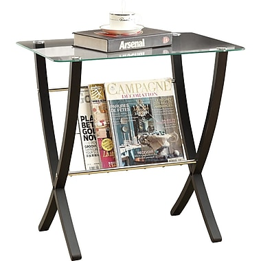 Monarch Bentwood Magazine Table With Tempered Glass, Cappuccino