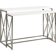 Monarch – Ensemble de tables console 2 pièces, métal chromé / blanc lustré