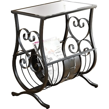 Monarch Metal Magazine Table With Tempered Glass, Satin Black