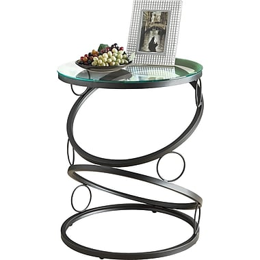Monarch Metal Accent Table With Tempered Glass, Matte Black