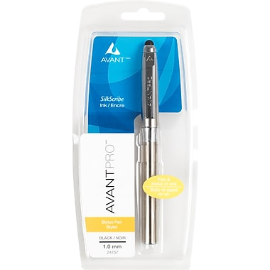AvantPro™Stylus Pen with SilkScribe Ink, 1.0 mm, Medium Point, Black Metal Barrel, Each