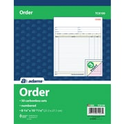"Adams® Carbonless Sales Order Form Book, 8-3/8"" x 10-11/16"", 3 Part"