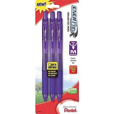 Pentel®EnerGel-X Retractable Gel Pen, Medium, Violet, 3/Pack