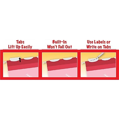 Pendaflex® Ready-Tab® Reinforced Hanging Folders, 5-Tab, Letter, Red, 25/Box (42623)