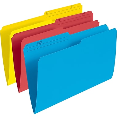 Staples® File Folders, Legal, Assorted (Red/Yellow/Blue), 25/Pack