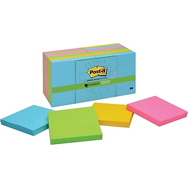 Post-it® Super Sticky 3in.x 3in. Multi Color Notes, Evernote Collection, 12 Pads/Pack