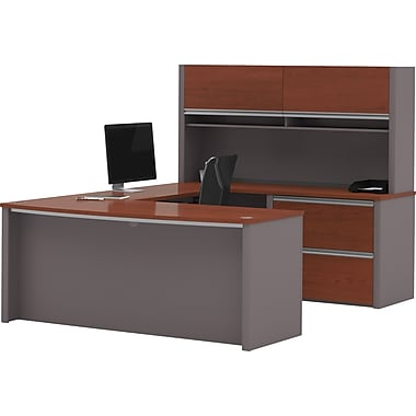 Bestar Connexion Collection U-Shape Workstation with Hutch, Bordeaux & Slate