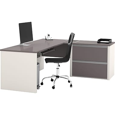 Bestar Connexion Collection L-Shape Desk with Oversized Pedestal, Sandstone & Slate