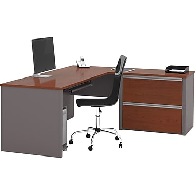 Bestar Connexion Collection L-Shape Desk with Oversized Pedestal, Bordeaux & Slate