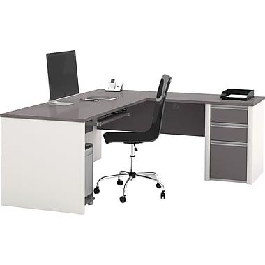 Bestar Connexion L Desk w/ Pedestal, Sandstone/Slate