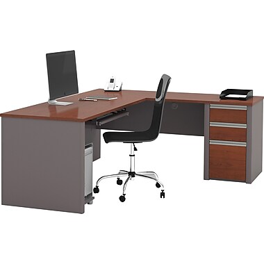 Bestar Connexion L-shaped Workstation Kit, Bordeaux & Slate