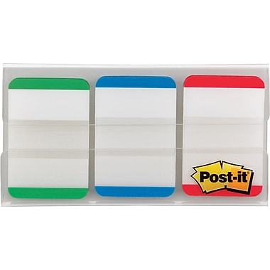 Post-it® 1in. Durable Filing Tabs, Green/Blue/Red, 36 Tabs/Pack