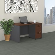 Bush Business Westfield 48W Desk with Pre-Assembled 2Dwr Mobile Pedestal, Hansen Cherry/Graphite Gray