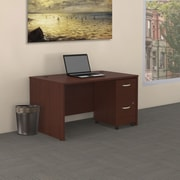 Bush Business Westfield 48W Desk with Pre-Assembled 2Dwr Mobile Pedestal, Cherry Mahogany