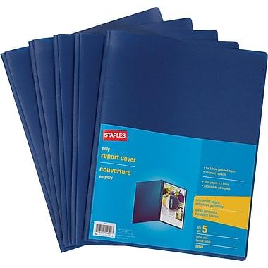 Staples® - Couverture de rapport en poly à 3 crampons, bleu, paq./5