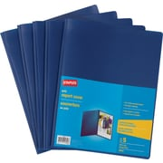 Staples® 3-Tang Poly Report Cover, Blue, 5/Pack
