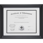 "11"" x 14"" with Double Bevel Cut Matting for 8 1/2"" x 11"" Document, Black"