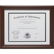 "11"" x 14"" with Double Bevel Cut Matting for 8 1/2"" x 11"" Document, Walnut"