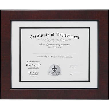 11in. x 14in. with Double Bevel Cut Matting for 8 1/2in. x 11in. Document, Mahogany