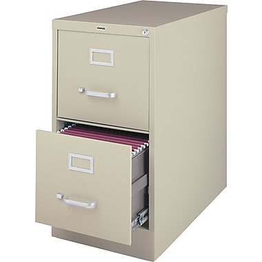 Staples Vertical File Cabinet w/ Lock, 25in. 2-Drawer, Letter Size, Putty