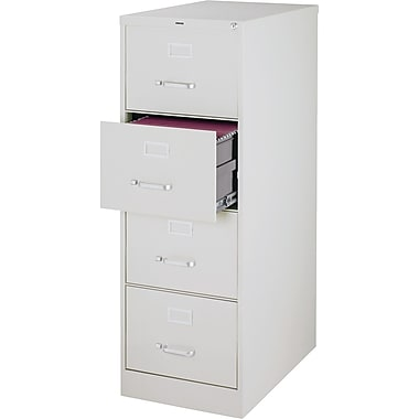 Staples 25in. Deep 4 Drawer Commercial Vertical File Cabinet, Legal Size, Light Gray