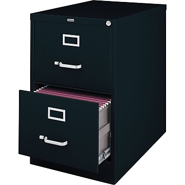 Staples 25in. Deep 2 Drawer Commercial Vertical File Cabinet, Legal Size, Black