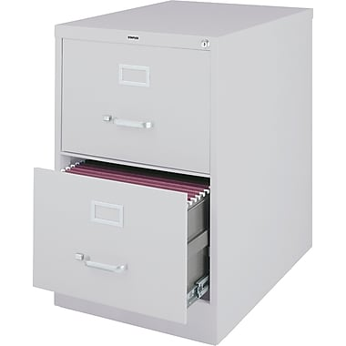 Staples 25in. Deep 2 Drawer Commercial Vertical File Cabinet, Legal Size, Light Gray