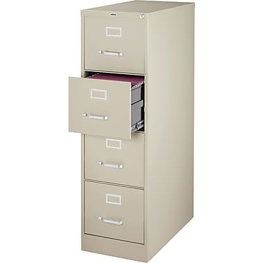 Staples Vertical File Cabinet w/ Lock, 25in. 4-Drawer, Letter Size, Putty