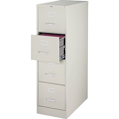 Staples Vertical File Cabinet w/ Lock, 25in. 4-Drawer, Letter Size, Light Gray