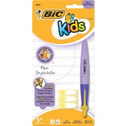 BIC® Kids Retractable Ballpoint Pens, Purple Barrel with Yellow Accents, 1.0mm, Each