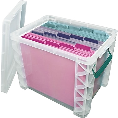 Advantus Super Stacker® File Box, Clear, 11 1/4in.H x 14 1/4in. W x 17 3/4in.L