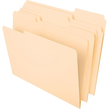 Staples® Manila File Folders, Letter, 3 Tab, 50/Box