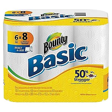 Bounty Basic Select-A-Size Paper Towels, 1-Ply, 6 Rolls/Pack
