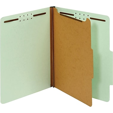 Globe-Weis® Classification Folders, 1 Part, Embedded Fastener, Light Green, Legal, 10/Box