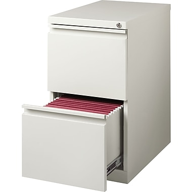 Staples 20in. Deep,  2-Drawer, Mobile Pedestal File, Light Gray