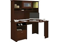 Bush Cabot Collection Corner Desk & Hutch, Harvest Cherry
