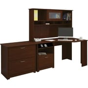 Bush Cabot Collection Corner Desk, Hutch & Lateral File, Harvest Cherry