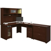 Bush Cabot Collection L-Desk, Hutch & Lateral File, Harvest Cherry