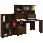 Bush Furniture Cabot Corner Desk with Hutch and 6 Cube Bookcase, Harvest Cherry
