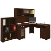 Bush Furniture Cabot L-Desk with Hutch and 6 Cube Bookcase, Harvest Cherry